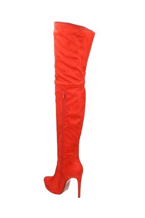 LSP55440 BOOTS SUEDE OVERKNEES PLATEAU RED