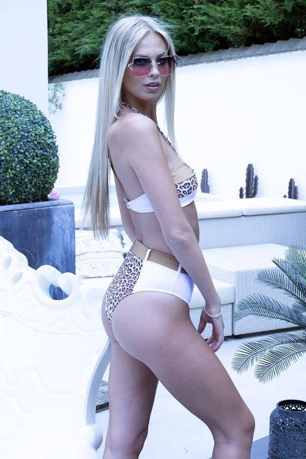 BRAZILIAN BIKINI SWIMSUIT HIGH WAIST WHITE LEOPARD BRONZE GTOB133BI