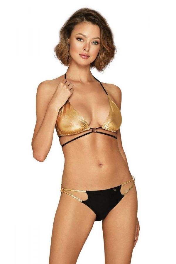 swimsuit bikini straps wetlook black gold.