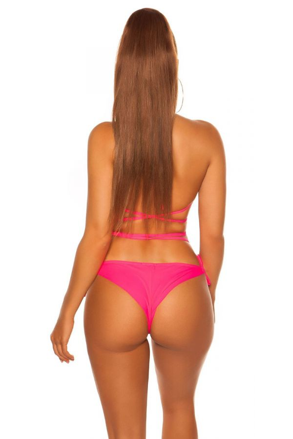 SWIMSUIT BOTTOM SLIP BRAZILIAN NEON PINK ISDH95836