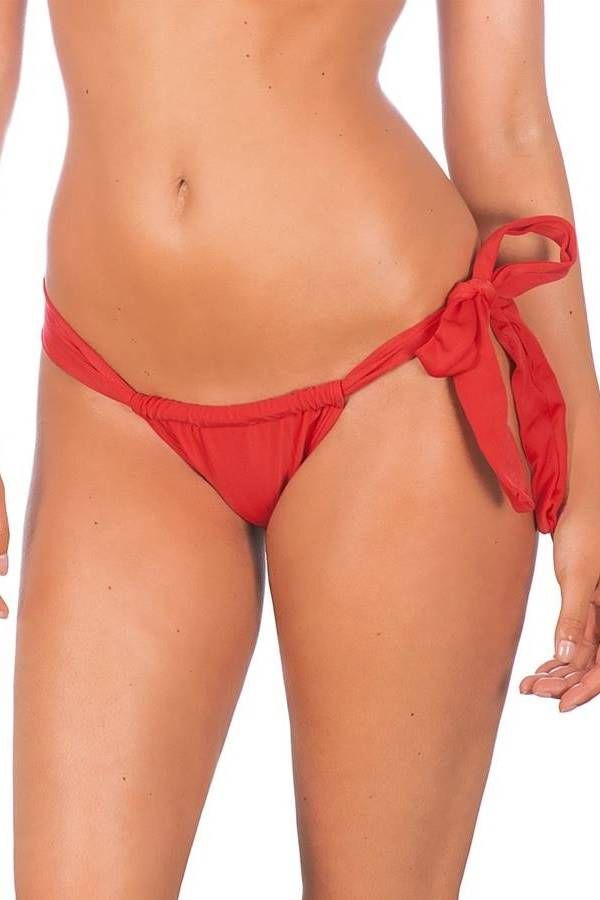 brazilian swimsuit bottom brief tied side red.