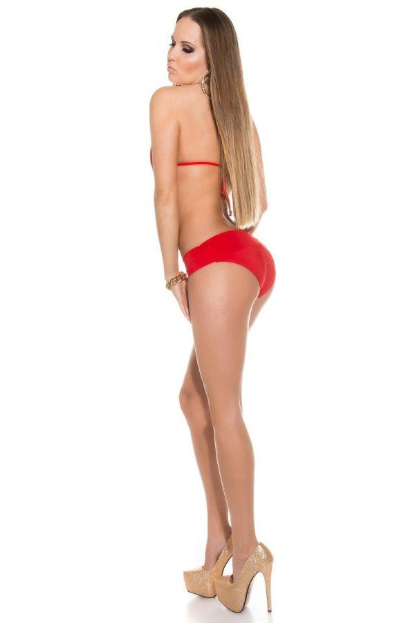bikini swimsuit chain crossed red.