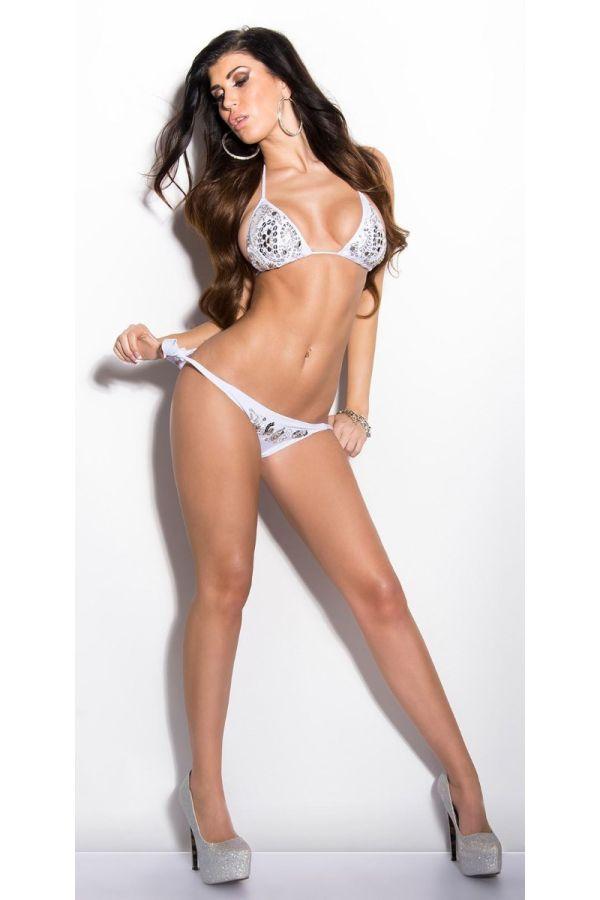 σέξι άσπρο μπικίνι μαγιό παγιέτες διακόσμηση δετό πλάτη λαιμό