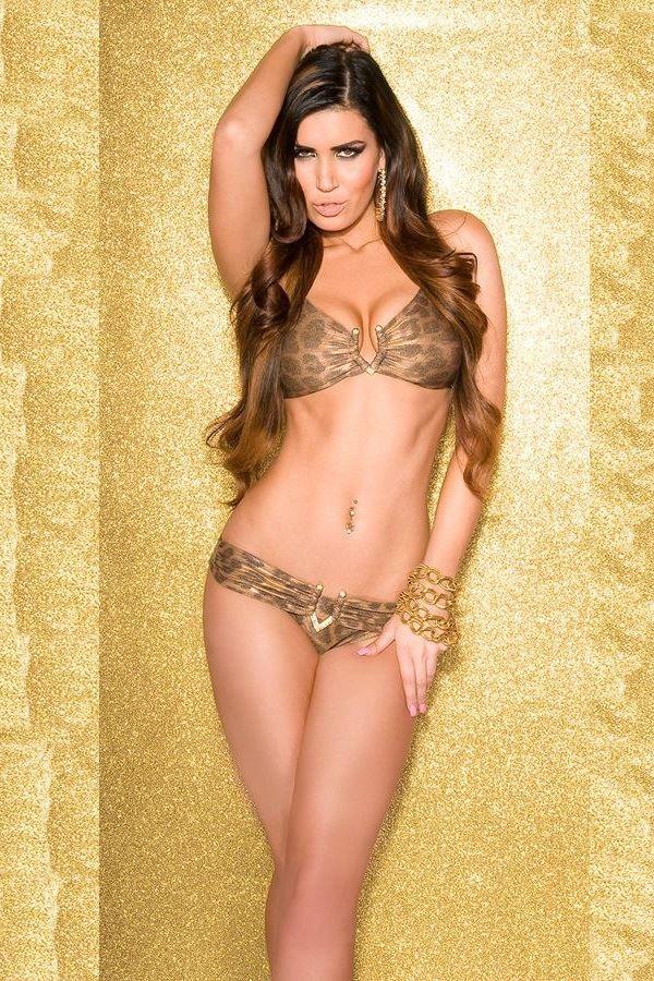 σέξι λέοπαρ μπρονζέ μπικίνι μαγιό με χρυσή αγκράφα δετό στην πλάτη
