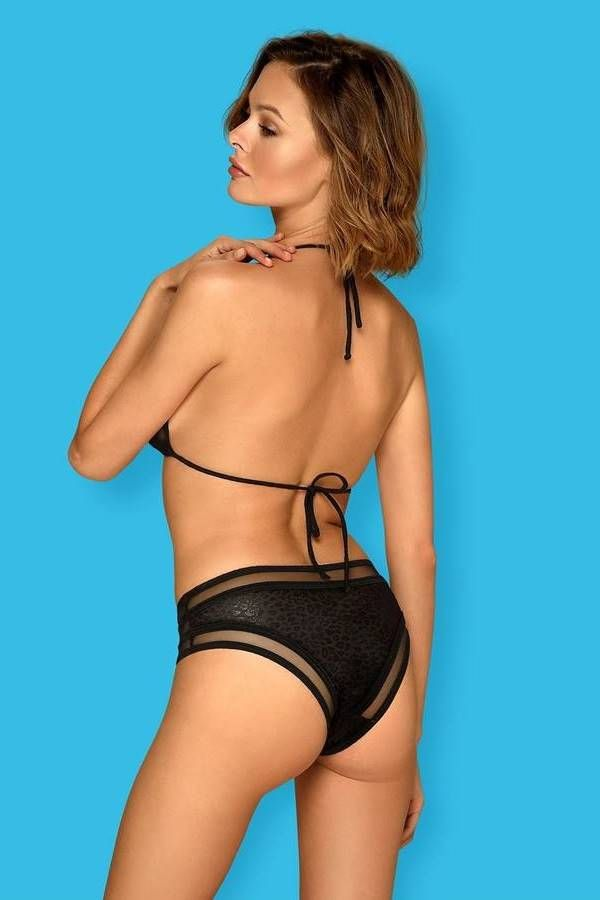 swimsuit bikini transparency croco black.