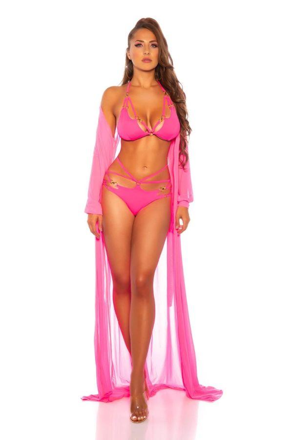 bikini brazilian swimsuit cut outs neon pink.