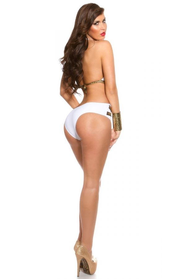 SWIMWEAR MONOKINI GOLD WET LOOK STRAPS WHITE ISDB99226