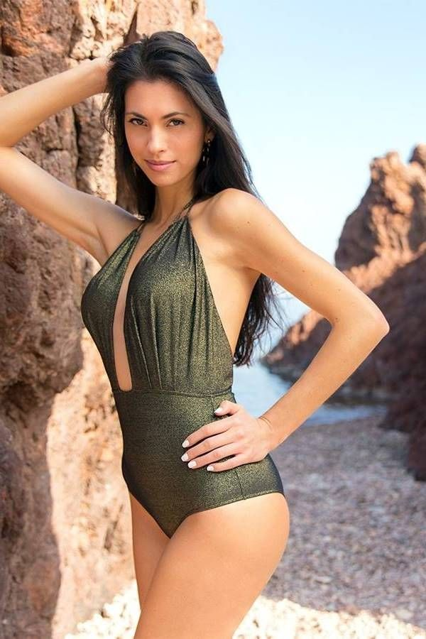 one piece swimsuit brazilian sexy lurex black.