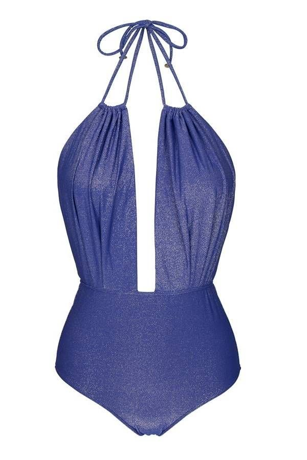 one piece swimsuit brazilian sexy lurex blue.