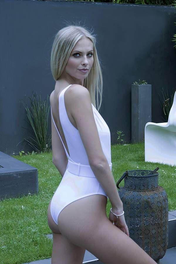 μαγιό ολόσωμο brazilian σέξι ντεκολτέ άσπρο.