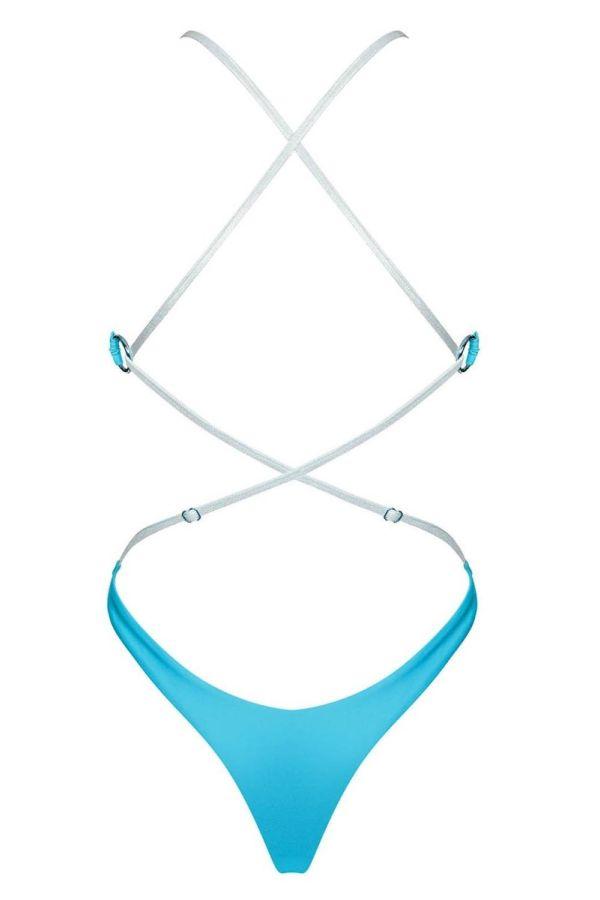 one piece brazilian swimsuit straps blue.