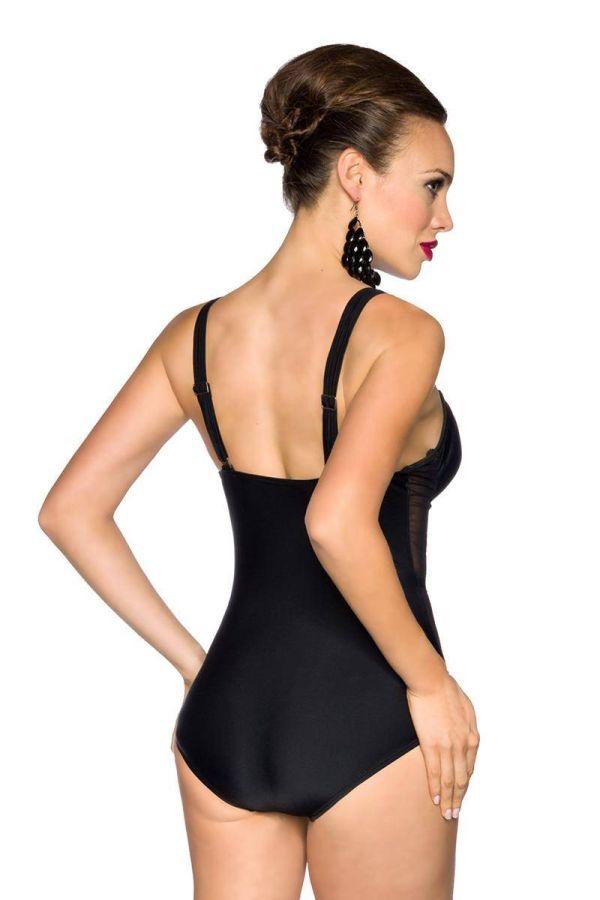 Swimsuit One Piece Transparency Cross Straps Black DAT1713736