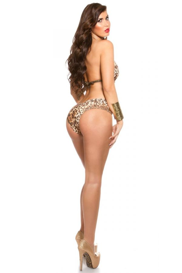 SWIMWEAR MONOKINI GOLD WET LOOK STRAPS LEOPARD ISDB99226