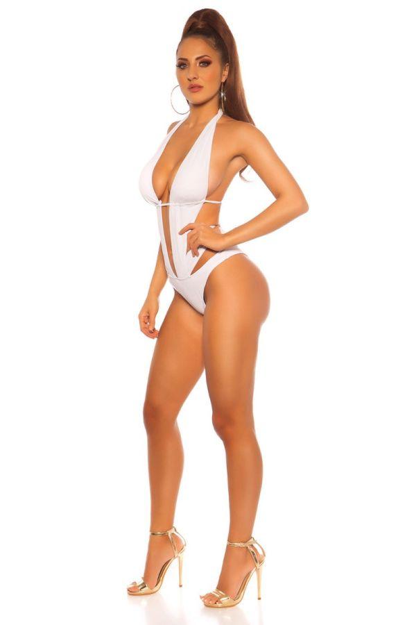 μαγιό ολόσωμο brazilian σέξυ εγκοπές άσπρο.