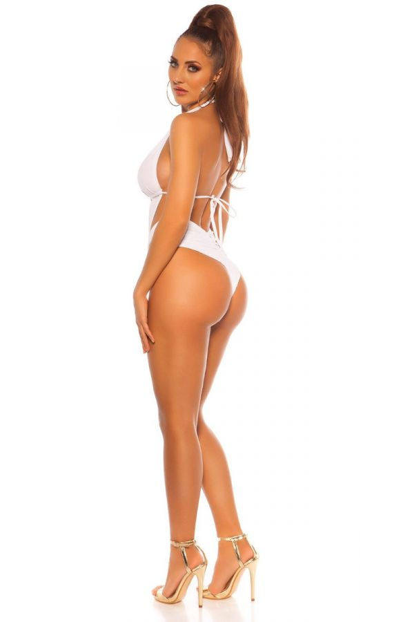 SWIMSUIT ONE PIECE BRAZILIAN SEXY CUTOUTS WHITE ISDB197753
