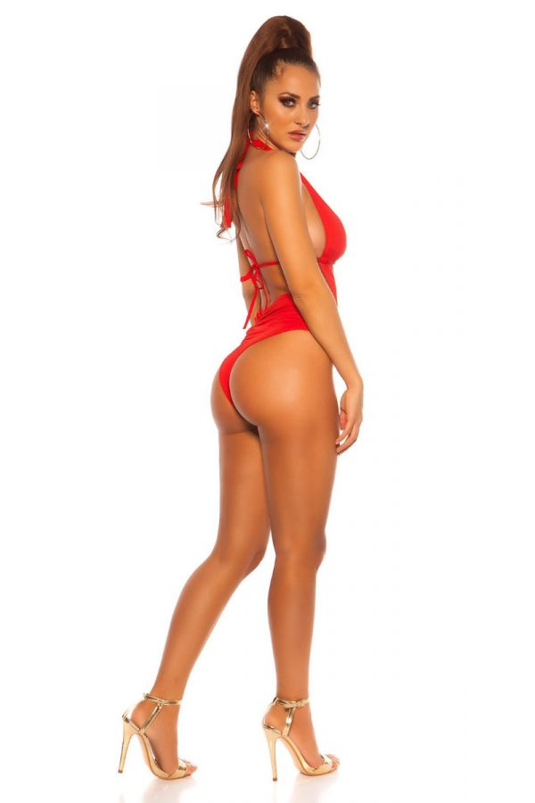 SWIMSUIT ONE PIECE BRAZILIAN SEXY CUTOUTS RED ISDB197753