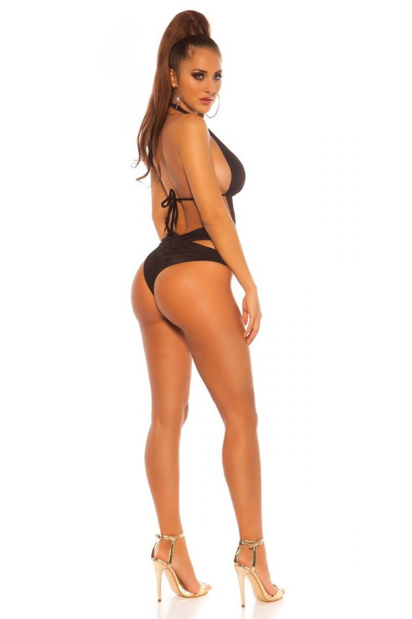 SWIMSUIT ONE PIECE BRAZILIAN SEXY CUTOUTS BLACK ISDB197753