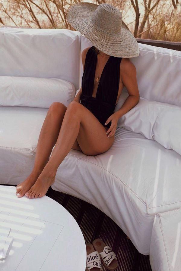 μαγιό ολόσωμο μπραζιλιαν σέξι λουριά μαύρο.