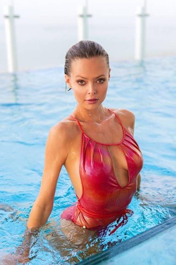 one piece brazilian swimsuit straps shinny red.