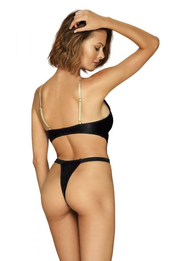 one piece swimsuit string sexy gold straps black.