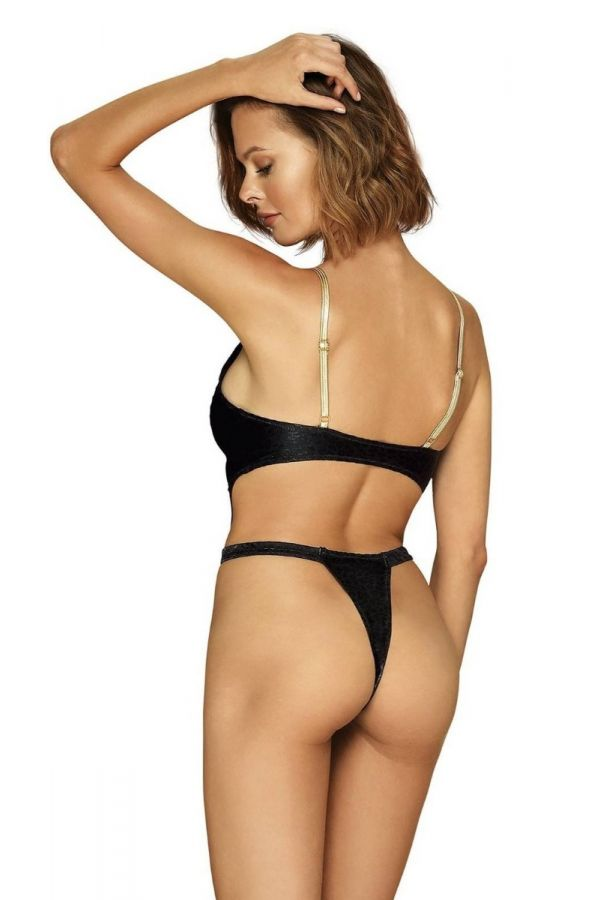 ONE PIECE SWIMSUIT STRING SEXY GOLD STRAPS BLACK SPAOB20686