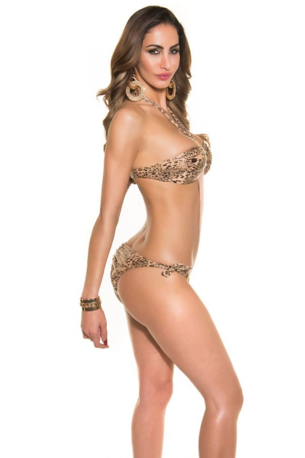 SWIMSUIT ONE PIECE SEXY RINGS LEOPARD BEIGE ISDN50170E