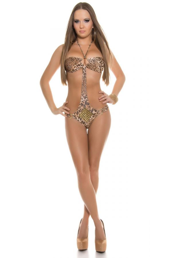 ONE PIECE SWIMSUIT SEXY GOLDEN DECORATION LEOPARD ISDB956E3