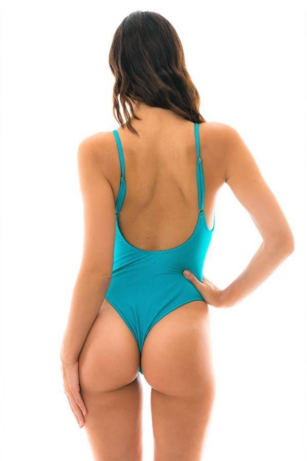 one piece string swimsuit sexy blue.