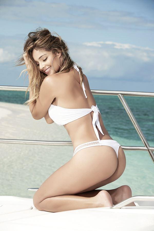 white string swimwear bikini with lace