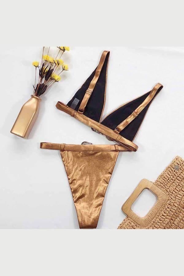 bikini swimsuit string exclusive metallic bronze.