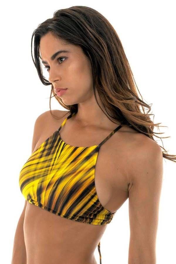 top swimsuit athletic black geometric designs yellow.