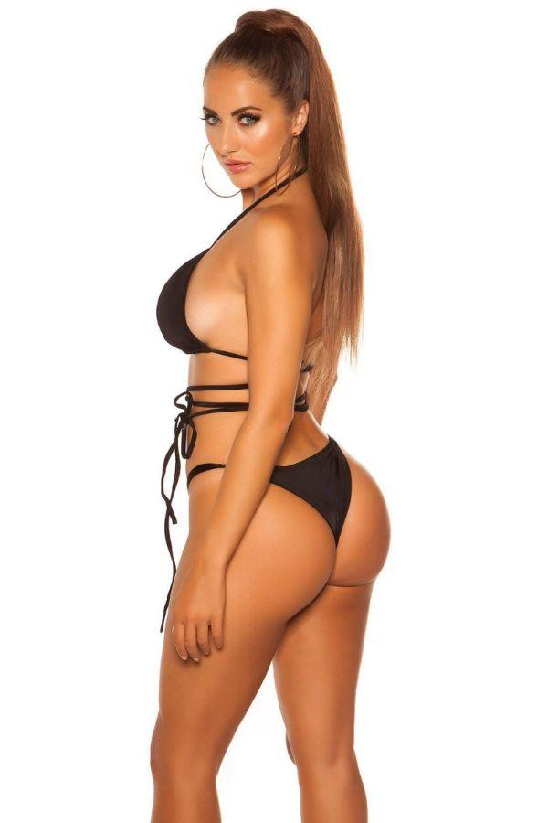 swimsuit top bra tied strap black.