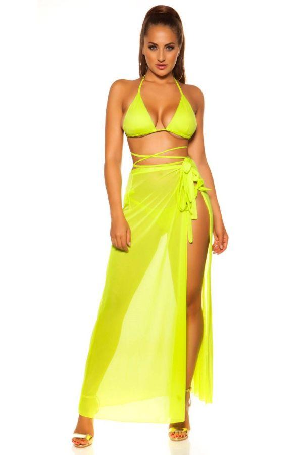 swimsuit top bra tied strap neon yellow.