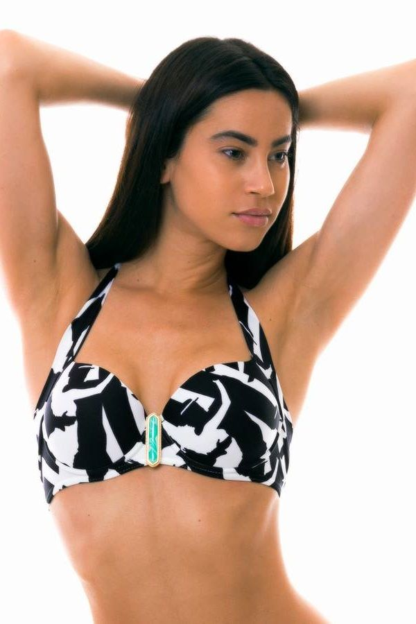 bra swimsuit top padding decoraration black white.