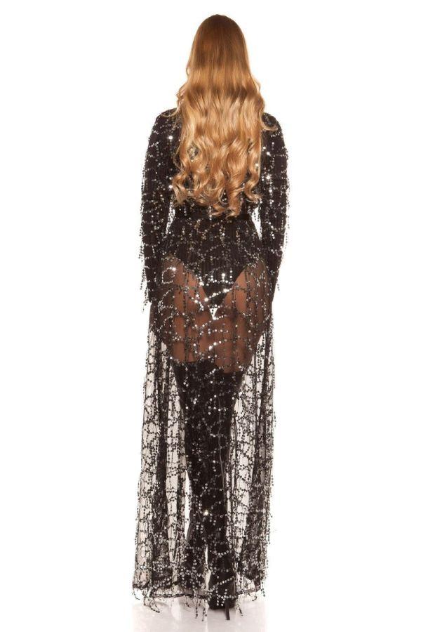 μακρύ μαύρο σιφόν μαντό με διαφάνεια διακοσμημένο ασημί παγιέτες