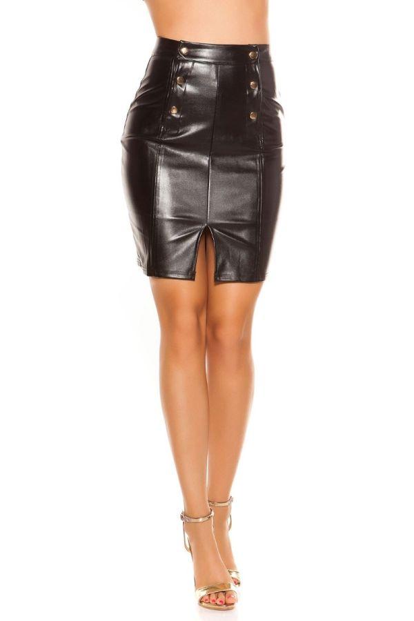 δερματίνη μαύρη φούστα ψηλή μέση χρυσά κουμπιά σκίσιμο.