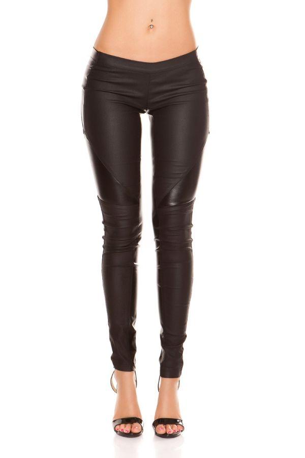 μαύρο παντελόνι δερματίνη φερμουάρ πάνελ