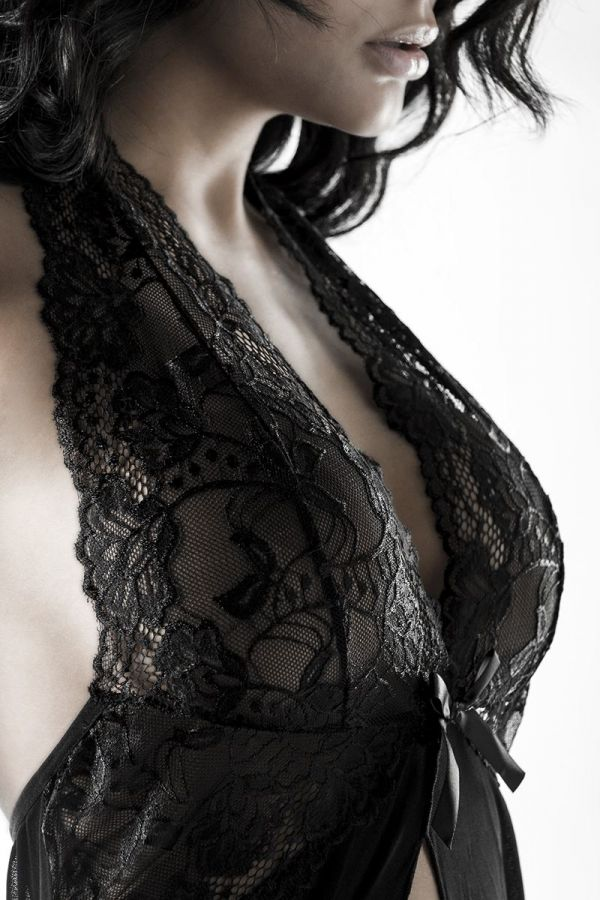 luxury erotic sexy set consisting of long neglizee with lace string and garters black
