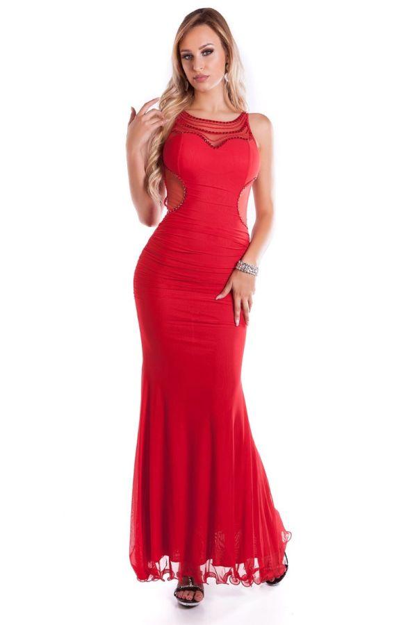 κομψό μάξι γοργονέ αμάνικο κόκκινο φόρεμα διαφάνεια πλάτη αλυσίδες.