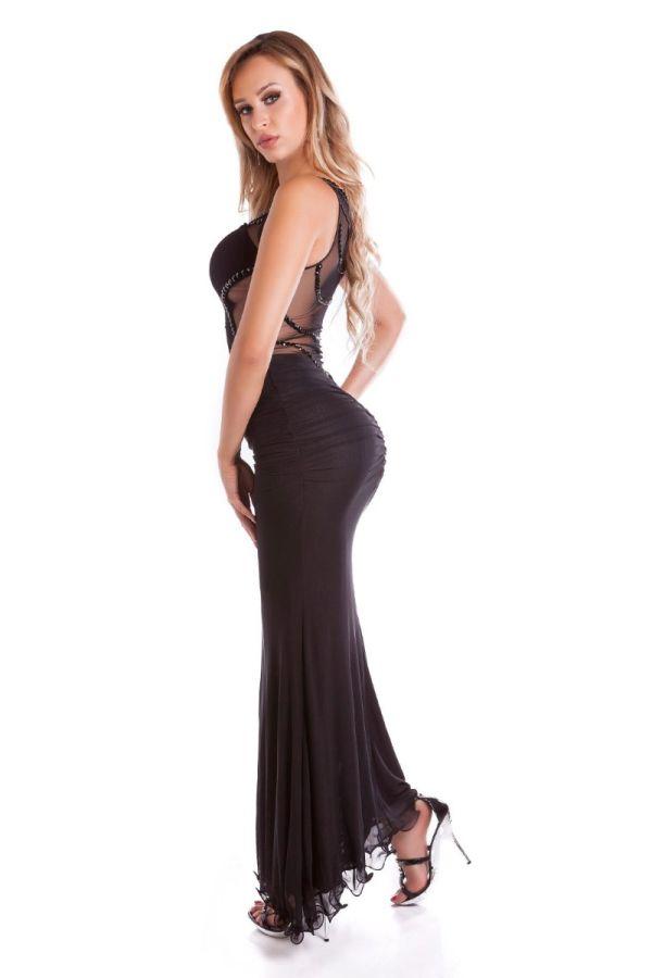 κομψό μάξι γοργονέ αμάνικο μαύρο φόρεμα διαφάνεια πλάτη αλυσίδες.
