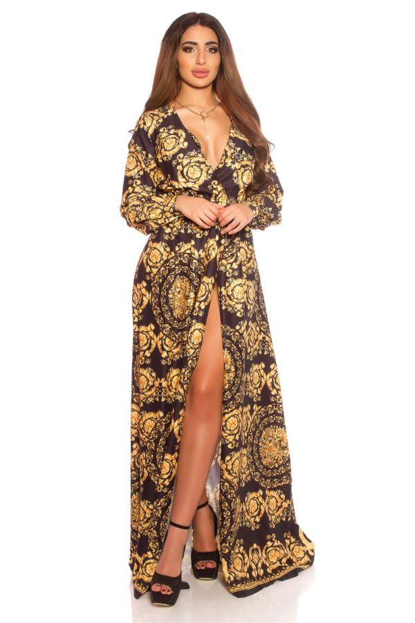 φόρεμα μακρύ σέξι νετεκολτέ σκίσιμο ζώνη μαύρο κίτρινο.