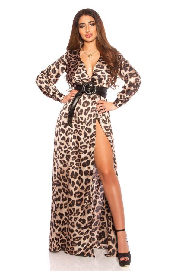 φόρεμα μακρύ σέξι νετεκολτέ σκίσιμο ζώνη λεοπαρ.