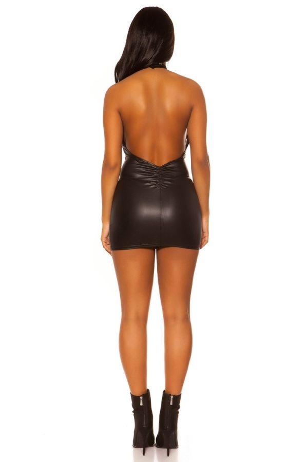 φόρεμα σέξυ μίνι wetlook μαύρο.