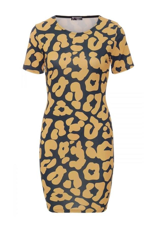 φόρεμα μίνι μαύρο κίτρινο