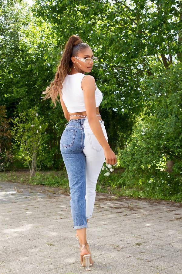 Mom Jeans Pants High Waist White Blue ISDJ4318