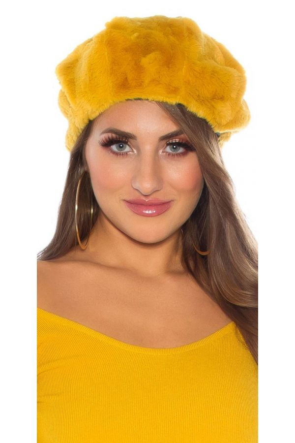 μπερές trendy γούνινο μουσταρδί.