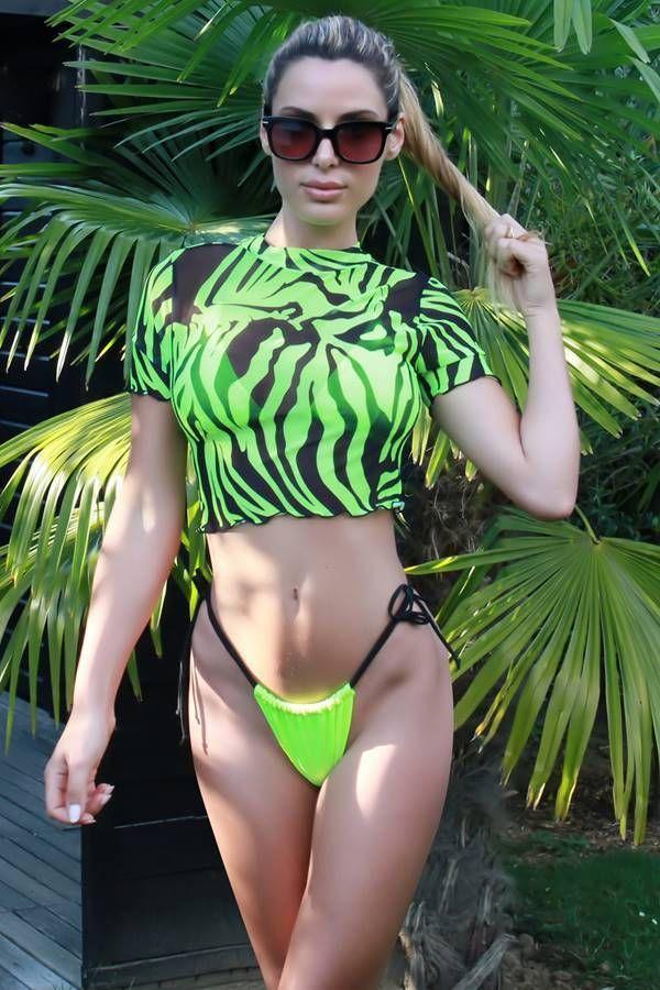 Bikini Swimsuit String Crop Top Zebra Green GTOS19233I2J