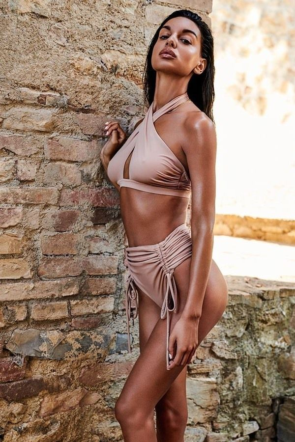 BIKINI SWIMSUIT HIGH WAIST CROSS NECK TOP NUDE SPAOB20469