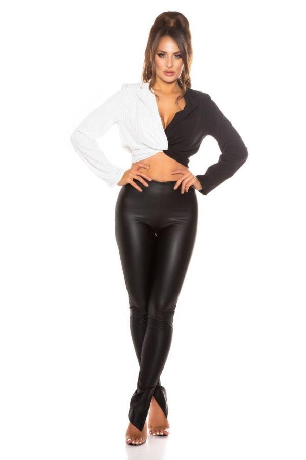 blouse crop striped white black.