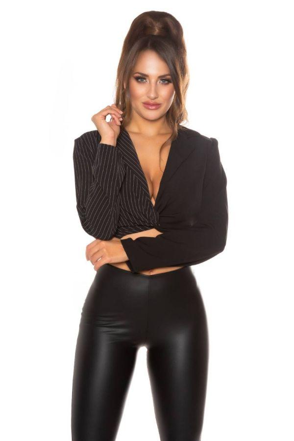 blouse crop grey stripes black.